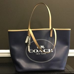 Coach Hudson Tote - Navy and Tan - Carriage Logo